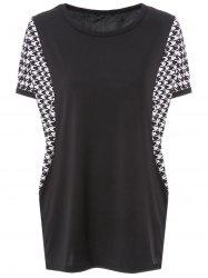 Stylish Scoop Neck Dolman Sleeve Houndstooth T-Shirt For Women -