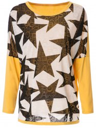 Stylish Scoop Neck Long Sleeve Spliced Star Printed Women's T-Shirt - YELLOW AND BLACK L