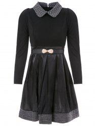 Stylish Flat Collar Long Sleeves Pleated Dress with Belt For Women - BLACK