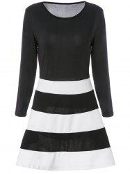 Color Block Striped Long Sleeve Dress - WHITE AND BLACK