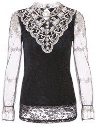 Élégant col roulé à manches longues Spliced ​​See-Through Blouse Women -