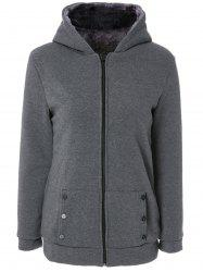 Stylish Long Sleeves Solid Color Zippered Flocking Hoodie For Women -