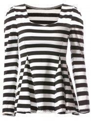 Stylish Sweetheart Neckline Striped T-Shirt For Women