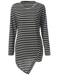 Simple Round Neck Long Sleeve Bodycon Striped Women's Dress - STRIPE