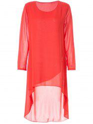 Simple Round Neck Long Sleeve Solid Color Chiffon Women's Dress - ORANGE