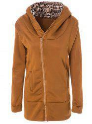 Stylish Long Sleeve Leopard Zippered Women's Hoodie - EARTHY
