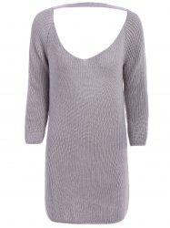 OL Style Women's Long Sleeve V-Neck Cut Out Pure Color Dress -