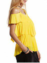 Sweet Spaghetti Strap Short Sleeve Layered Pleated Women's Blouse -