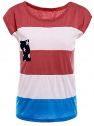 Stylish Round Neck American Flag Print Color Block Short Sleeve Women's T-Shirt