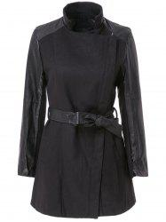 Stylish Stand-Up Collar Long Sleeve Zippered Spliced Women's Coat - BLACK