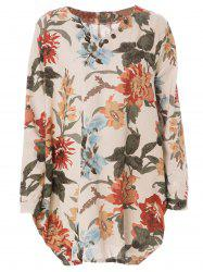 Sweet V-Neck Long Sleeves Floral Printed Dress For Women
