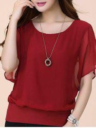 Batwing Sleeves Flowing Chiffon Top - RED
