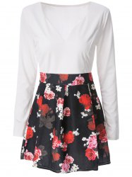 Mini Floral Long Sleeve Flare Dress - WHITE