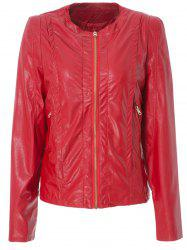 Stylish Round Neck Long Sleeve Solid Color Zippered PU Women's Jacket - RED