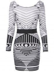 Sexy Scoop Neck Long Sleeve Geometric Bodycon Backless Women's Dress -