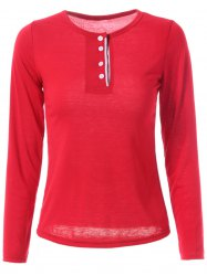 Stylish Jewel Neck Long Sleeve Color Block T-Shirt For Women - WINE RED XL