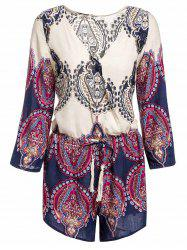 Sexy Plunging Neck Printed Long Sleeve Romper For Women -
