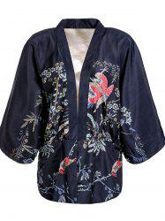 Retro Collarless Floral Print Batwing Sleeve Kimono Blouse For Women -