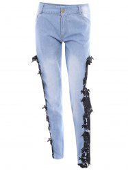 Sexy Mid Waist Lace Floral Spliced Hollow Out Jeans For Women
