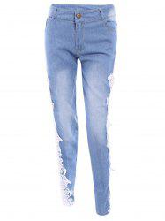 Washed Lace Insert Skinny Jeans - WHITE