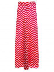 Zippered Chevron Maxi Skirt