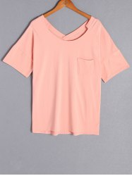 Casual Scoop Neck Pure Color Short Sleeve Plus Size T-Shirt For Women -