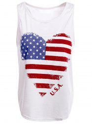 Trendy Scoop Neck Sleeveless American Flag Pattern Tank Top For Women -