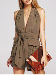 Charming Sleeveless Pocket Design Backless Solid Color Women's Romper -