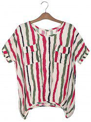 Sweet Scoop Neck Colorful Vertical Stripe Batwing Sleeve Women's T-Shirt -
