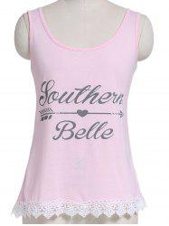 Casual Letter Print Lace Embellished Women's Tank Top -