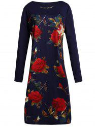 Chic Slash Collar Long Sleeve Floral Print Women's Dress