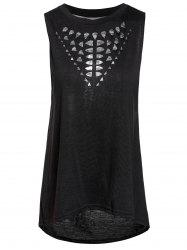 Stylish Round Collar Hollow Out High-Low Hem Tank Top For Women - BLACK