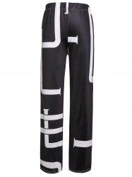 Fashionable Mid-Waisted Printed Loose-Fitting Women's Pants - WHITE/BLACK L