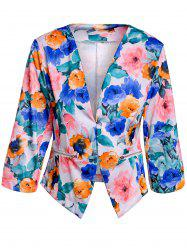 Trendy Style Full Floral Print 3/4 Sleeve Blazer For Women - COLORMIX