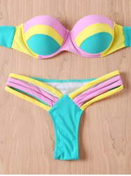 Color Block Strapless Push Up Bandeau Bikini Set - TIFFANY BLUE XL