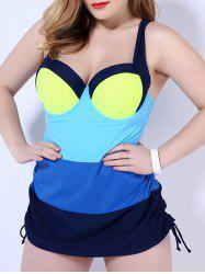 Sweetheart Neck Color Block Drawstring Swimsuit - Bleu 2XL