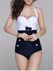 Underwire Color Block Vintage One Piece Swimwear - PURPLISH BLUE 2XL