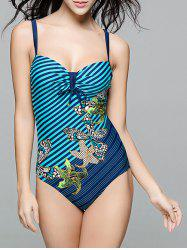 Refreshing Women's Open Back  Starfish Pattern One Piece Swimwear - PURPLISH BLUE 5XL