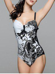 Fashionable Strappy Printed Cut Out One-Piece Swimsuit For Women