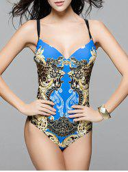 Fashionable Strappy Cut Out One-Piece Swimsuit For Women - SAPPHIRE BLUE 3XL
