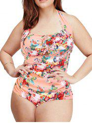 Fashionable Plus Size Sweetheart Neck Floral One-Piece Swimsuit For Women -
