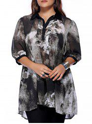 Plus Size Brief Ink Painting Buttoned Blouse - BLACK