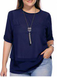 Plus Size Pure Color Back Slit Tunic Blouse - DEEP BLUE