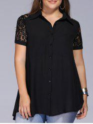 Lace Trim Plus Size Tunic Blouse - BLACK