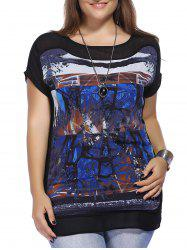 Trendy Plus Size Abstract Pattern Women's Chiffon Blouse - BLACK