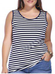 Chic Plus Size Scoop Neck Striped Women's Tank Top -