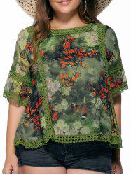 Chic Plus Size Flare Sleeve Floral Print Women's Blouse