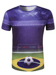 Slim Fit Round Collar UEFA Champions League Printing T-Shirt For Men -