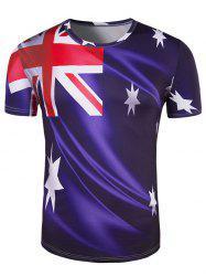 Slim Fit Round Collar Australian Flag Printing T-Shirt For Men - DEEP PURPLE 2XL