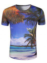 Slim Fit Round Collar 3D Coconut Palm Printing T-Shirt For Men - COLORMIX M